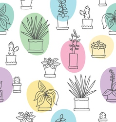 Seamless with color flowers in pots vector