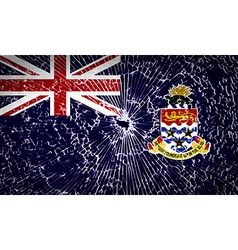 Flags cayman islands with broken glass texture vector