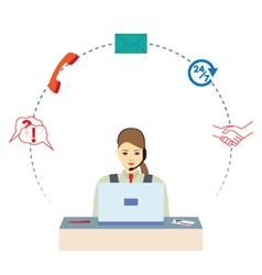 Female working in a call center vector