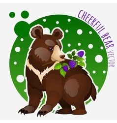 Bear with blackberries on white-green background vector