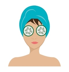 avatar woman with blue towel and cucumber vector image