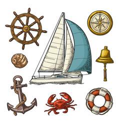 Anchor wheel sailing ship compass rose shell vector