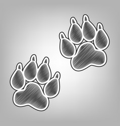 Animal tracks sign pencil sketch vector