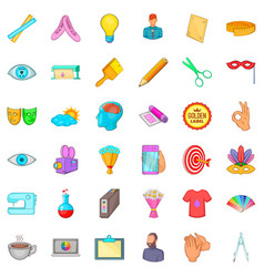 art work icons set cartoon style vector image vector image