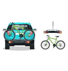 Bikes loaded on the back of a suv back view flat vector