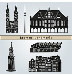 Bremen landmarks and monuments vector image vector image