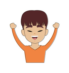 Chinese man with hands up cartoon vector