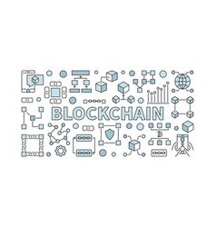 Creative technology banner made with block chain vector