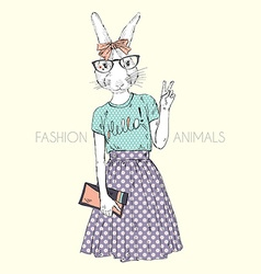 Fashion animal cute hipster bunny girl character vector