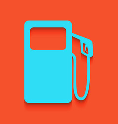 Gas pump sign whitish icon on brick wall vector