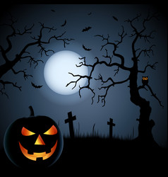 halloween poster with grinning pumpkin and vector image