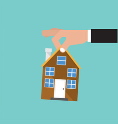 Hand catch home real estate buying conceptual vector