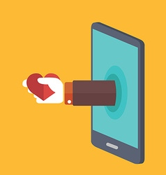 Hand sticking out of smartphone holding heart vector image vector image