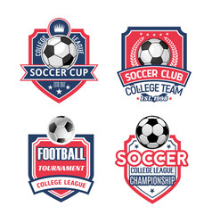 icons for soccer cup or football sport club vector image vector image
