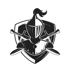 Knight helmet with two swords and shield isolated vector