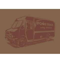 Painted food truck on a brown background vector image