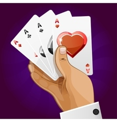 poker playing card in hand vector image vector image