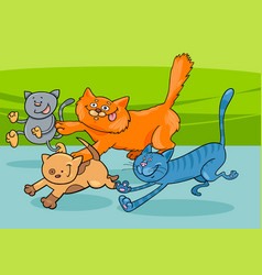 Running cats group cartoon vector
