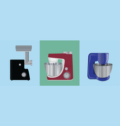 set of kitchen appliances electric mixer meat vector image