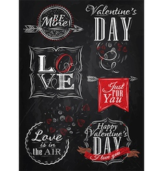 Set Valentines Day red vector image