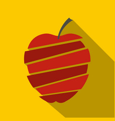 sliced apple icon flat style vector image vector image