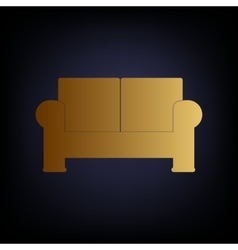 Sofa sign golden style icon vector