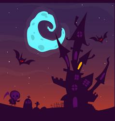 Spooky old ghost house halloween cartoon vector