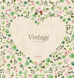 Vintage frame of heart with leaves and flowers eco vector