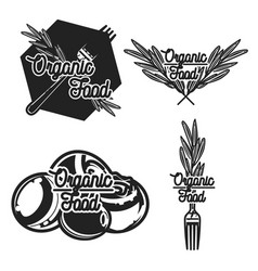 Vintage organic food emblems vector