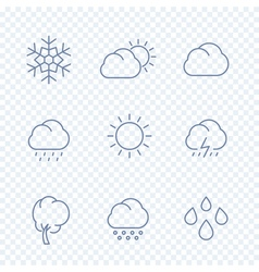Weather icons sunny cloudy day rain snowflake hail vector