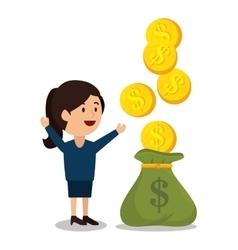 Woman cartoon money earnings design isolated vector