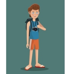 Young boy tourist photo camera flip flop vector