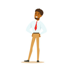 young smiling african american businessman vector image