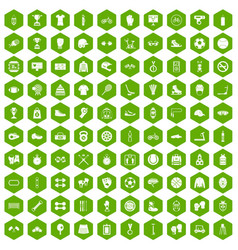 100 sport accessories icons hexagon green vector