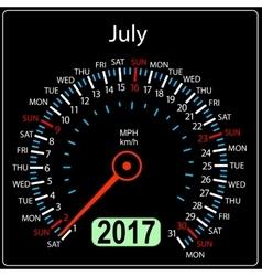 Year 2017 calendar speedometer car in  july vector