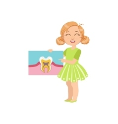 Girl holding tooth anatomy classic drawing vector
