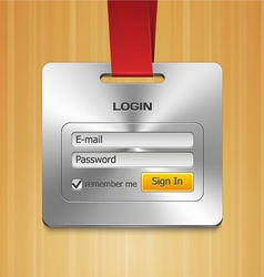 Login Form Page with Brushed Metal Badge vector image