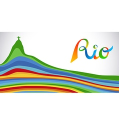Colorful rio sport games banner with landmark vector