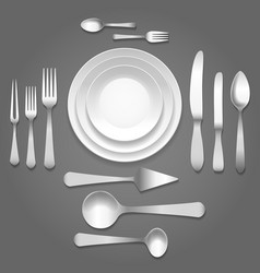 Dinnerware top view vector