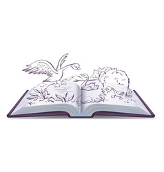 Open book fairy tale of ugly duckling vector