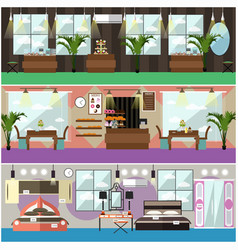 Set of shop interior concept flat posters vector