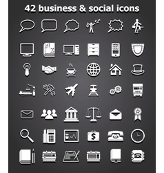 social and business icons set vector image