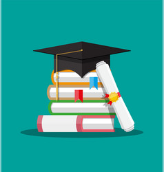 Paper diploma with stamp books and graduation cap vector