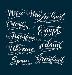 Mexico and new zealand hand written typography vector