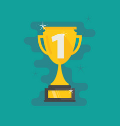 Trophy first place number one flat icon vector