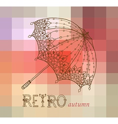 Beautiful retro umbrella vector
