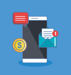 Notification of an incoming email sms money to a vector