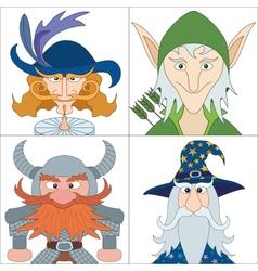 Fantasy heroes set avatars vector
