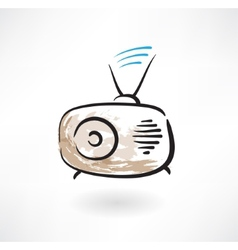 Radio grunge icon vector
