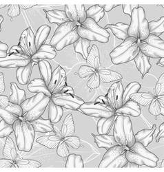 Seamless background with lilies and butterflies vector
